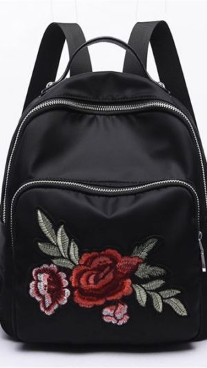 Embroidery Peony Flower Womens Backpack
