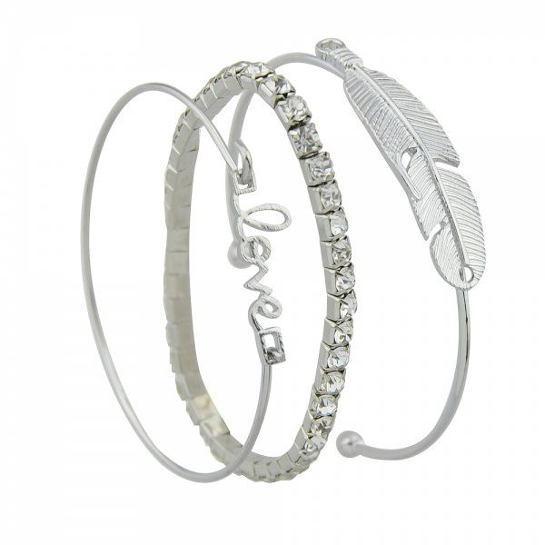 3 piece Silver Color with Rhinestone Feather Bracelet