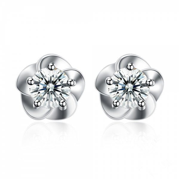 Flower Pattern Silver Earrings