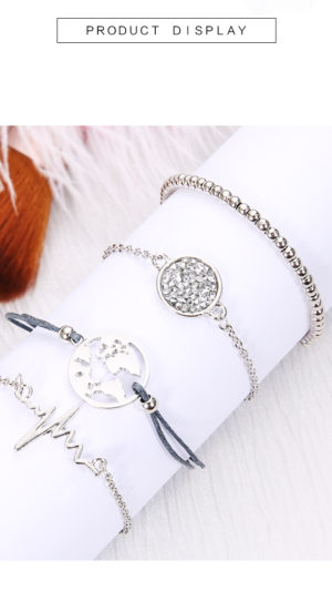 Earth Map Love Heart ECG Multilayer Bracelets Crystal Charm 4 piece set