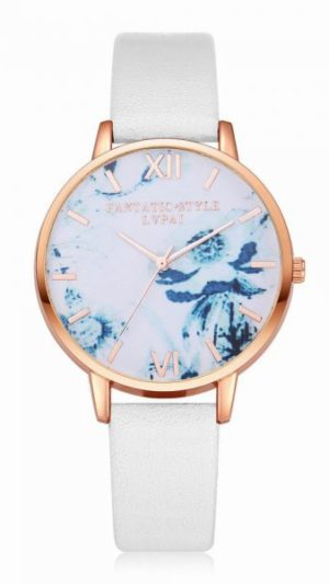 Flowers Dial Leather Band Quartz Watch - White