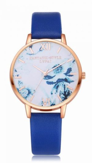 Flowers Dial Leather Band Quartz Watch - Royal