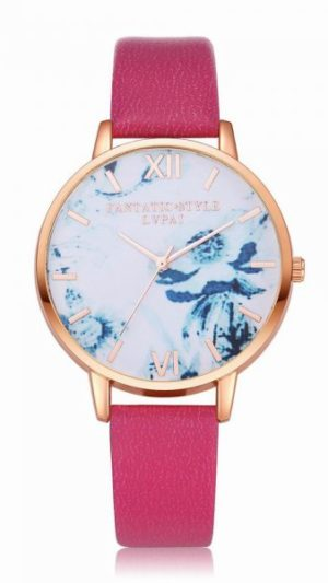 Flowers Dial Leather Band Quartz Watch - Rose Red